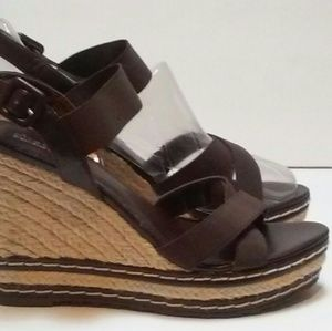 Charles David-Leather & Jute, Wedge Sandals.